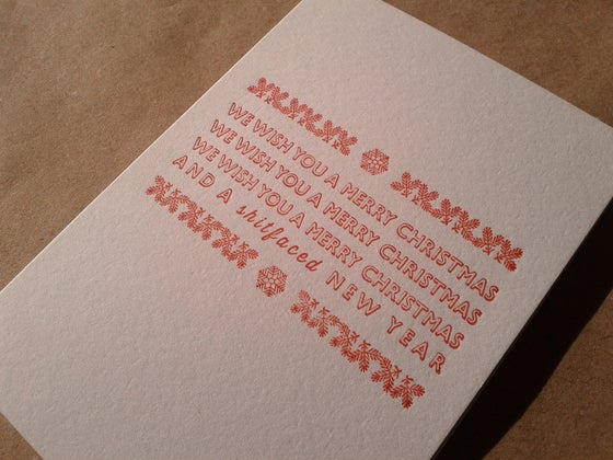 Image of Letterpress Christmas Card - WE WISH YOU A ... in red (A7 size, blank inside)