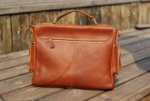 """Image of Handmade Genuine Leather Briefcase / Messenger / 11"""" MacBook Air or 12"""" Laptop Bag in Brown (n64-2)"""