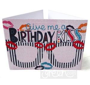 Image of Original Card Glasses-Birthday Kiss