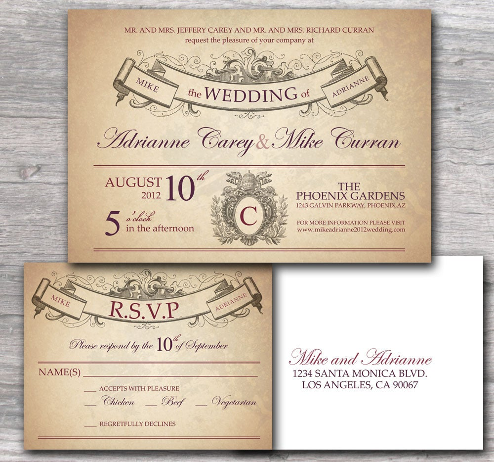 Invitation Wording Samples: Ornate Wedding Invitation With Rustic French Style Sample