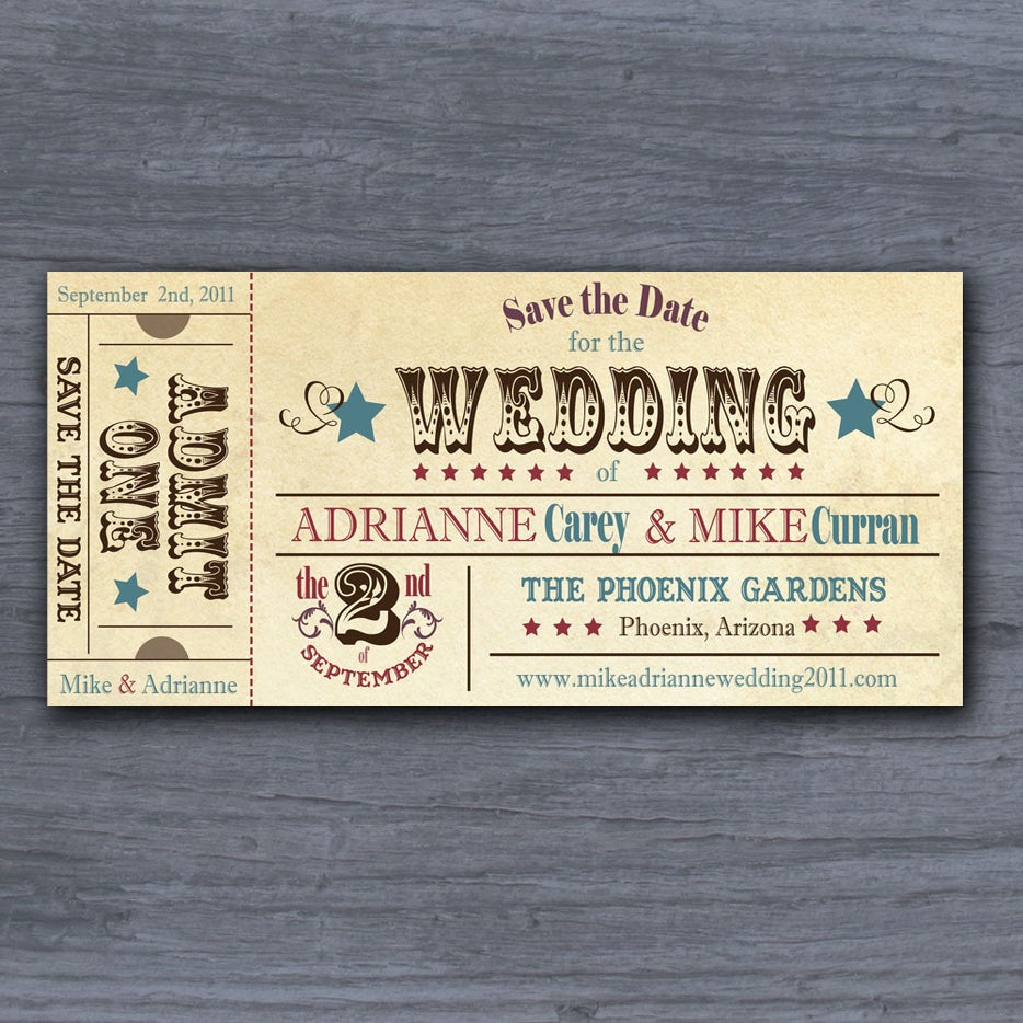 vintage rodeo ticket save the date wedding invitation