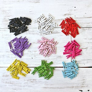 Image of Tiny Coloured Wooden Pegs