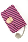 Image of Sexy in Stripes Clutch (Fuschia/Green)