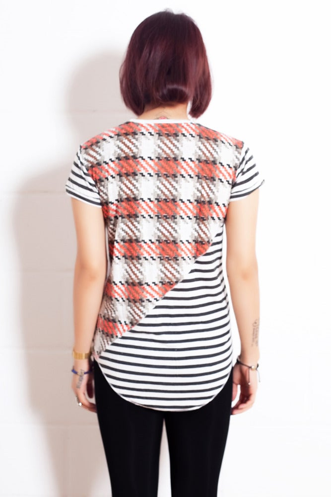 Image of Womens Stripe Dogtooth T