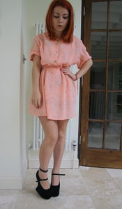 Image of Vintage Pink Paisley Button Up Dress