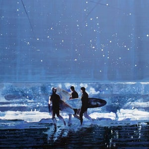 Image of Night Ocean Surfers Cornwall