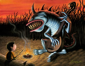 """Image of Marshmallows with the Blue Dragon - 11"""" x 17"""" Archival Print"""