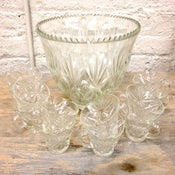 Image of Vintage Punch Bowl with 12 cups