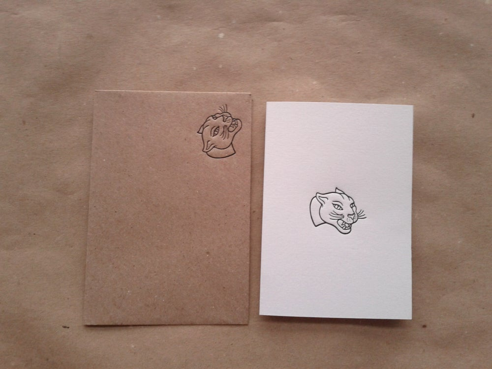Image of Letterpress Greetings Card - Panther (A7 size, blank inside)