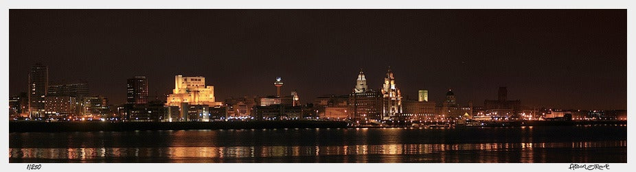 Image of Liverpool Waterfront night panorama from Seacombe 2004 print or canvas