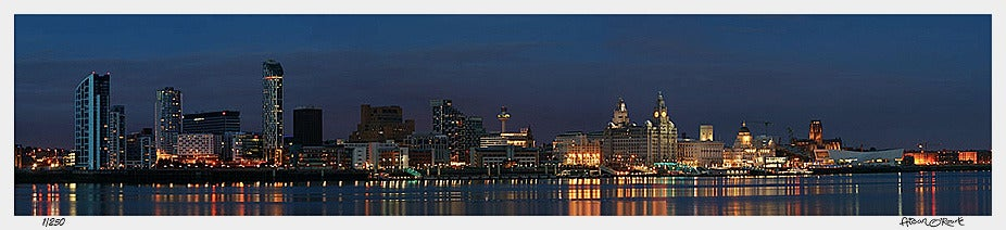Image of Liverpool night panorama from Seacombe 2008 print or canvas