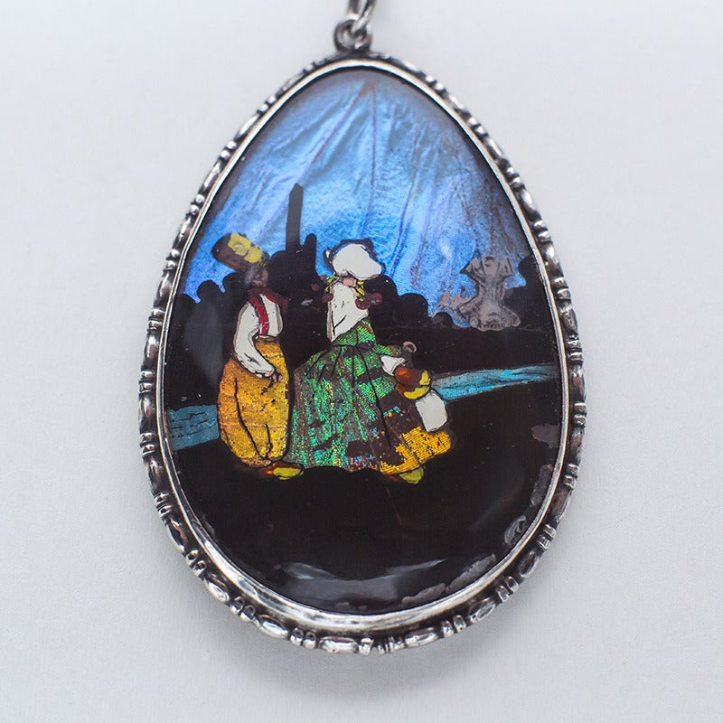 Image of Antique Reverse Painted Butterfly Wing Necklace
