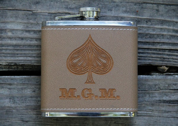 Image of Personalized 6 oz. Stainless Steel Hip Flask - Spade
