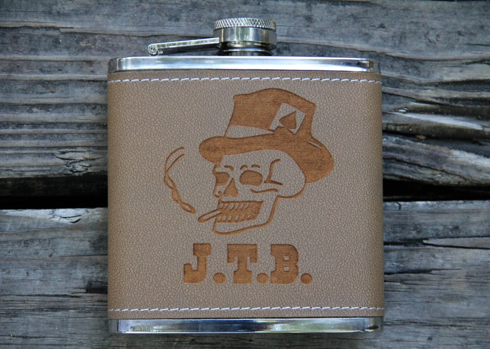 Image of Personalized 6 oz. Stainless Steel Hip Flask - Skull