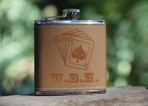 Image of Personalized 6 oz. Stainless Steel Hip Flask - Poker
