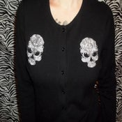 Image of Gothic Skull Embroidered Cardigan
