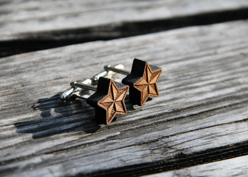 Image of Nautical Star Walnut Wood Cufflinks