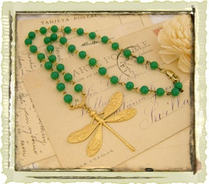 "Vintage ""Green Rosary Dragonfly"""