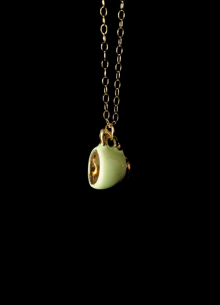 Image of green and gold cup necklace