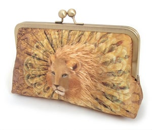 Gold lion original silk clutch bag - Red Ruby Rose