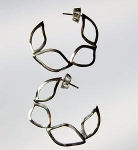 Image of Tratti Silver Flat Hoops Earrings
