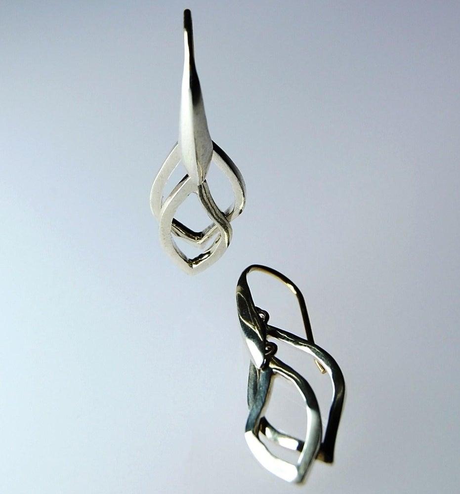 Image of Tratti Silver Double Drops Earrings