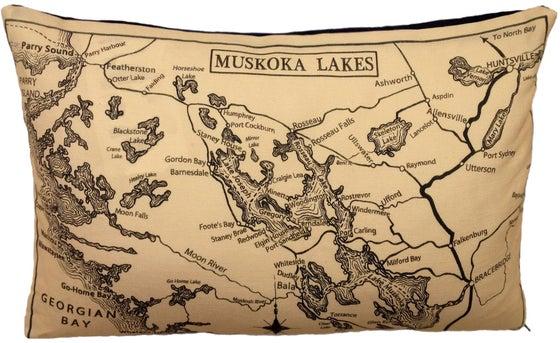 Image of Muskoka Lakes Vintage Map Pillow