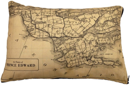 Image of Prince Edward County Vintage Map Pillow