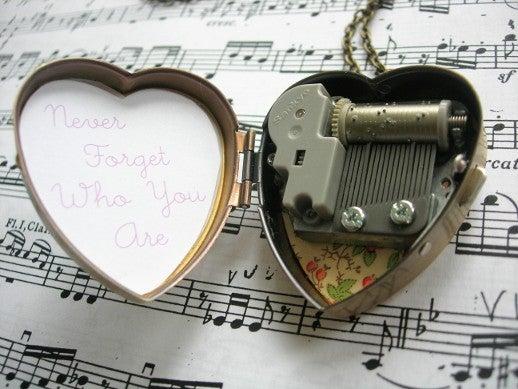 Image of Love My Bicycle Miniature Music Box Heart Locket