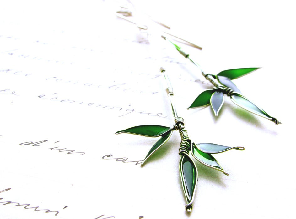 Image of Silver Bamboo Earrings
