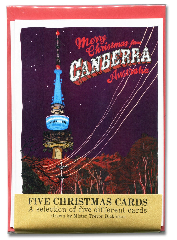 Image of Five pack of Canberra at night Christmas cards