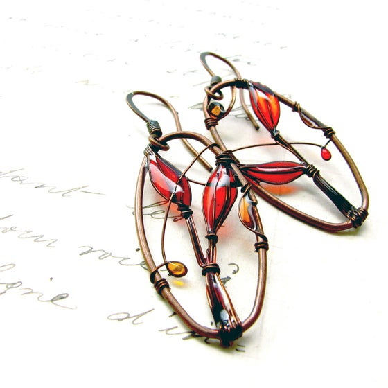 Image of Red Landscapes Earrings. Copper Jewelry.