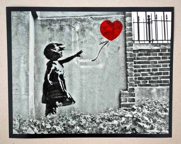 "Image of Banksy - Girl With Balloon - Black & White 10"" x 8"" photo, with hand coloured red balloon"