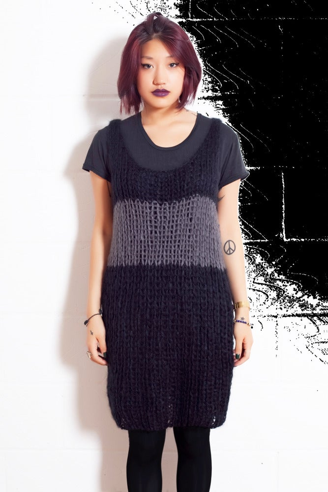 Image of Knitted Tank with a stripe.
