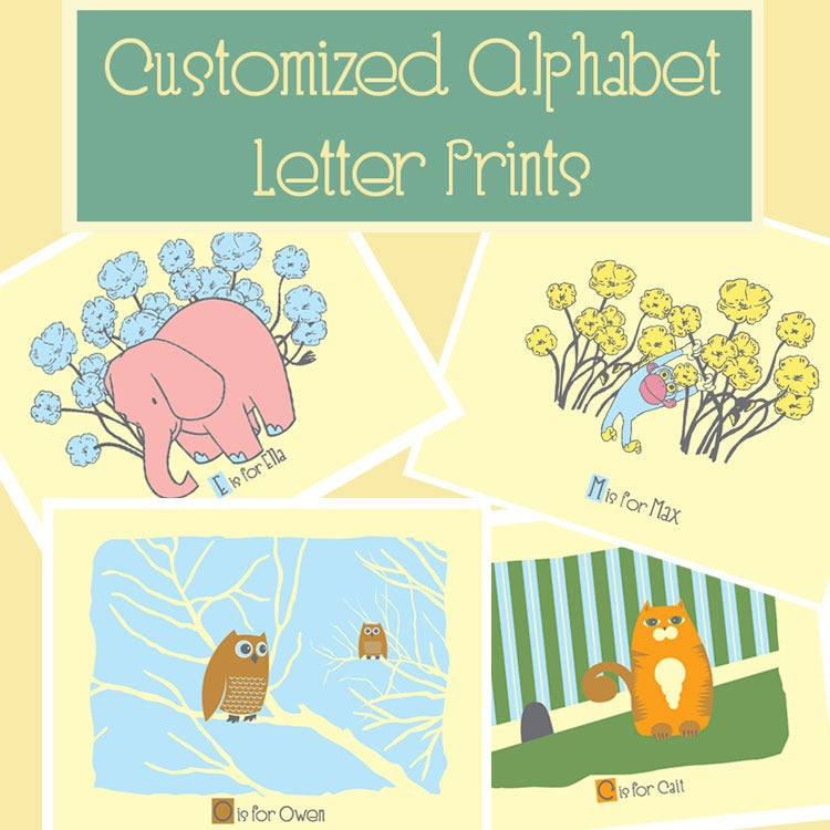 Image of Customized Name Alphabet Letter Prints