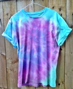 Image of Swirl Blue, Pink, Purple and Green Tie Dye Short Sleeved Tee
