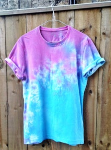 Image of Blue and Pink Dip Dye/Tie Dye Tee