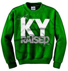 Image of Ky Raised Crewneck Sweatshirt in Green / White / Grey