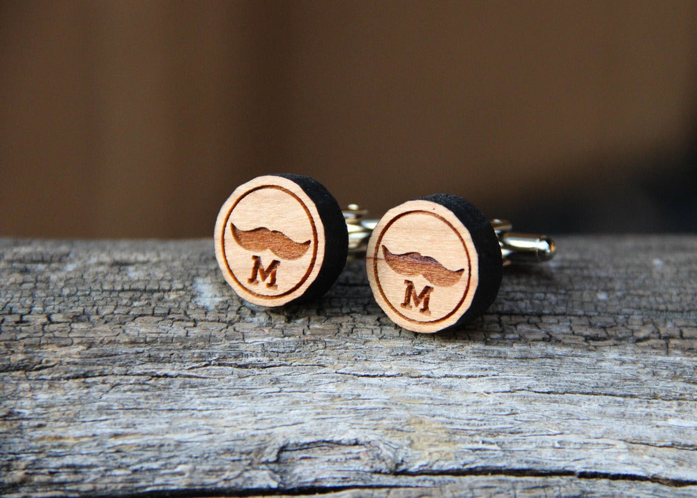 Image of Personalized Handmade Wooden Mustache Cufflinks