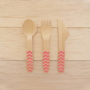 Image of Talheres Wood Pink CHEVRON (10 unidades por ref.)