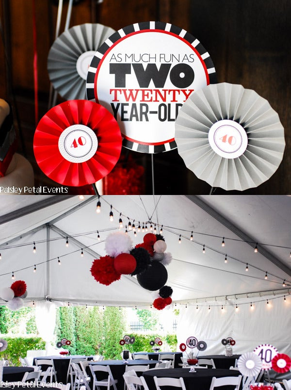 """Image of printable THE BIG O 30, 40, 50, 60.... 8"""" centerpieces (As much fun as two 20 year olds)"""