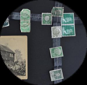 Image of vintage postage stamp garland.