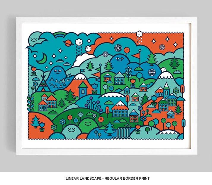 Image of Linear Landscape (Colour Option No.1) Giclée print on 310gsm Somerset Velvet Paper