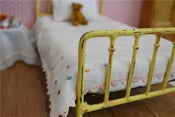 Image of Playscale Metal Doll Bed Shabby Chic Style