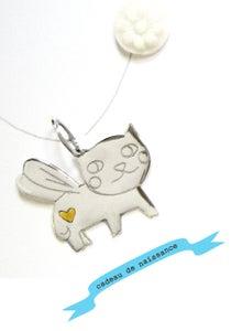 Image of pendentif en argent 925 'chat porte-bonheur'