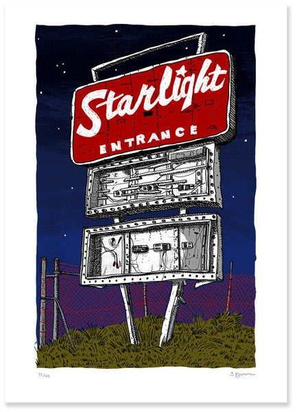 Image of Starlight Drive-in sign at Night - Digital Print