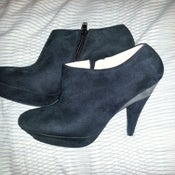 Image of BLACK FAUX SUEDE BOOTIES W/ SIDE ZIPPER (NEW)