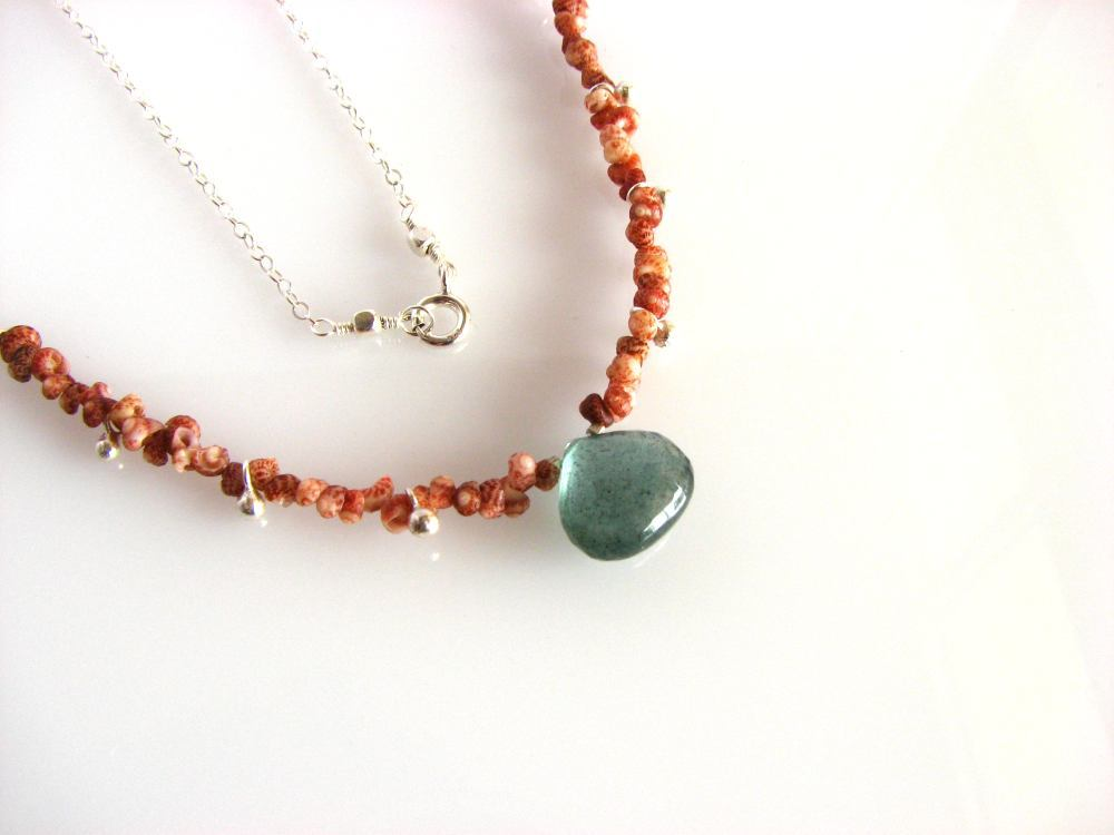 Image of Kahelelani shell necklace with moss aquamarine