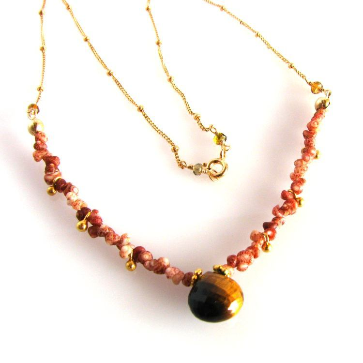 Image of Kahelelani shell necklace with Tiger's Eye