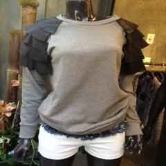Image of Leather Ruffle Shoulder Sweatshirt